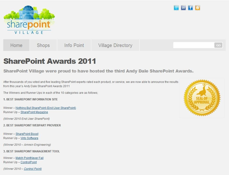 SharePointBoost bags Andy Dale SharePoint Awards 2011