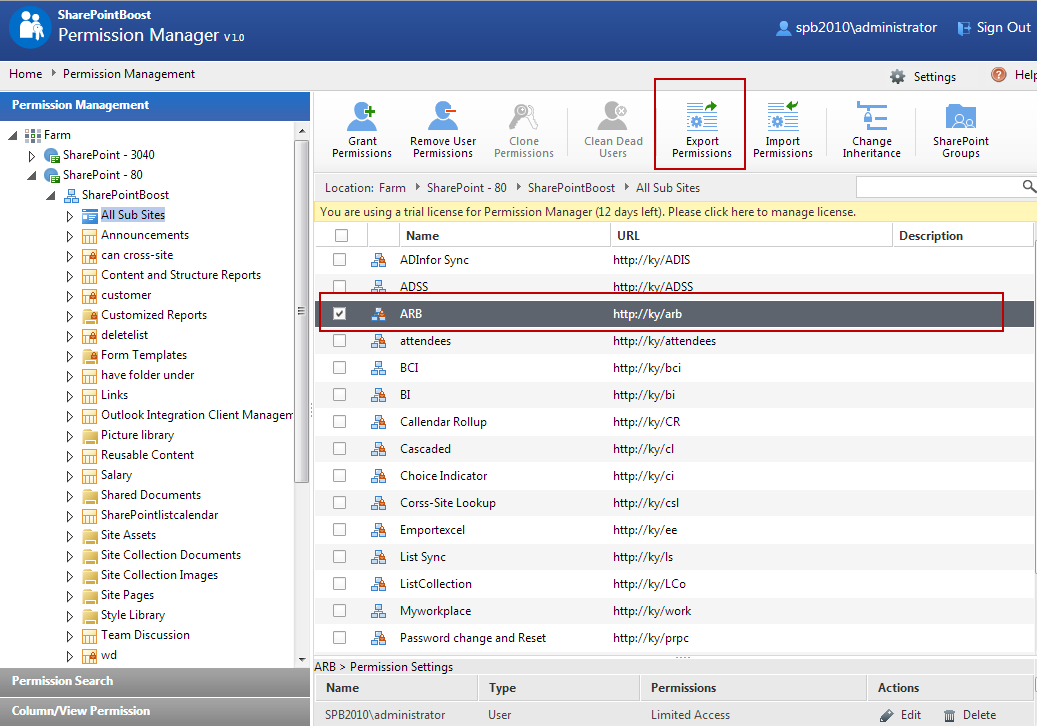 Use SharePoint Boost Permission Manager to Backup or Import Permission settings