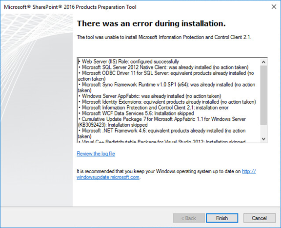 Errors you may meet when install SharePoint 2016
