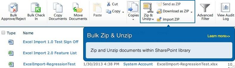 SharePoint Bulk Zip & Unzip