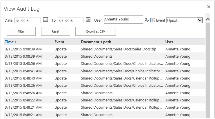 filter audit details